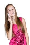 Muchacha del retrato con el teléfono móvil Imagen de archivo