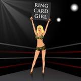 Muchacha del ring de boxeo que lleva a cabo a un tablero Fotos de archivo libres de regalías