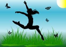 Muchacha del salto de la silueta Foto de archivo libre de regalías