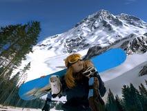 Muchacha del Snowboard imágenes de archivo libres de regalías