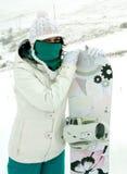 Muchacha del Snowboarder Imágenes de archivo libres de regalías