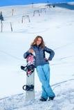 Muchacha del Snowboarder Fotos de archivo libres de regalías