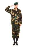 Muchacha del soldado en el uniforme militar Fotografía de archivo libre de regalías