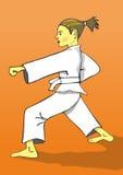 Muchacha del soldado enrollado en el ejército del karate Imagenes de archivo