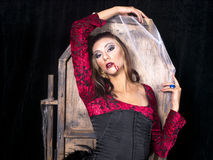 Muchacha del vampiro con el ataúd fotografía de archivo