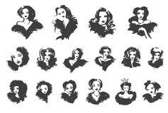 Muchacha del vector Señora elegante Mujeres de moda El diseño de moda en el estilo del bosquejo, muchacha dibujada mano en invier stock de ilustración