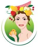 Muchacha del verano con las frutas Imagen de archivo