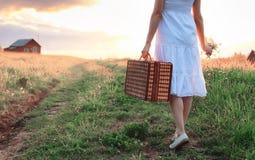 Muchacha del verano de la puesta del sol en un campo con las flores Fotos de archivo libres de regalías