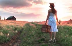 Muchacha del verano de la puesta del sol en un campo con las flores Fotografía de archivo libre de regalías