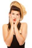 Muchacha del verano en diseñar retro del sombrero Imagenes de archivo