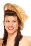 Muchacha del verano en diseñar retro del sombrero Foto de archivo libre de regalías
