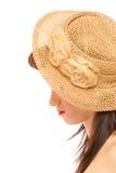 Muchacha del verano en diseñar retro del sombrero Fotos de archivo libres de regalías