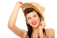 Muchacha del verano en diseñar retro del sombrero Imagen de archivo libre de regalías