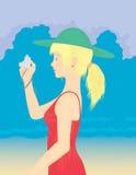 Muchacha del verano que toma una foto Imagen de archivo