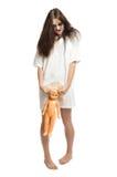 Muchacha del zombi con la muñeca plástica Imagen de archivo libre de regalías