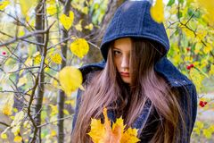 Muchacha deprimida que camina en parque Imagen de archivo
