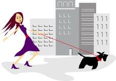 Muchacha descarada con el perro scotty Fotos de archivo libres de regalías