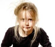 Muchacha despeinada del preescolar con el retrato largo del pelo Imagen de archivo libre de regalías