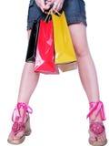 Muchacha después de hacer compras Imagen de archivo libre de regalías