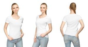 Muchacha determinada de la actitud en el diseño blanco en blanco de la maqueta de la camiseta para la impresión y la mujer joven  fotografía de archivo
