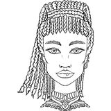 Muchacha dibujada mano del garabato en el fondo blanco Retrato para mujer para el libro de colorear adulto ilustración del vector