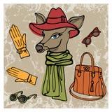 Muchacha dibujada mano del inconformista de los ciervos con los accesorios Imagenes de archivo