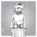 Muchacha dibujada mano del inconformista de los ciervos en vestido contorno Imagen de archivo