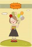 Muchacha divertida con el globo, tarjeta de felicitación del cumpleaños Imagen de archivo
