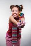 Muchacha divertida con el sugarplum Imagen de archivo libre de regalías