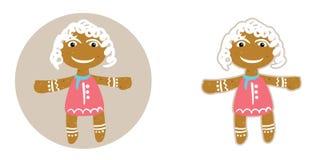 Muchacha divertida de la arena en galletas rojas del jengibre del vestido el día de la Navidad, en estilo plano Fotografía de archivo libre de regalías