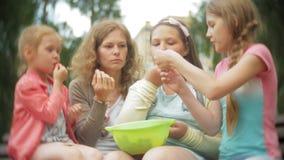 Muchacha divertida de los niños que come las fresas en parque almacen de metraje de vídeo