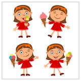 Muchacha divertida determinada en estilo de la historieta que come el helado libre illustration