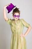 Muchacha divertida en el sombrero Imagen de archivo libre de regalías