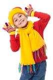 Muchacha divertida en ropa del invierno Fotos de archivo libres de regalías