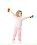 Muchacha divertida que hace ejercicios del deporte imagen de archivo libre de regalías