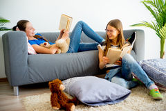 Muchacha dos que estudia en casa Foto de archivo
