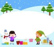 Muchacha, duende y muñeco de nieve Imagenes de archivo