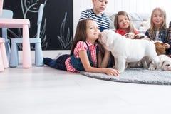 Muchacha dulce que juega con los perritos del dogo en el cuarto de niños Fotografía de archivo