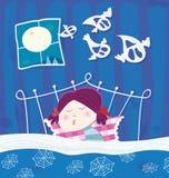 Muchacha durmiente durante la noche de víspera de Todos los Santos stock de ilustración