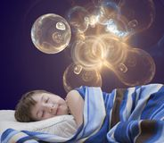 Muchacha durmiente en fondo abstracto Fotos de archivo libres de regalías