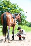 Muchacha ecuestre adolescente que comprueba para saber si hay lesión de la pierna del caballo de bahía Imagen de archivo