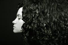 Muchacha elegante con el pelo rizado Foto de archivo libre de regalías