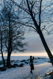 Muchacha elegante en abrigo de pieles y sombrero en la puesta del sol Fotos de archivo libres de regalías
