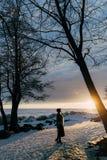 Muchacha elegante en abrigo de pieles y sombrero en la puesta del sol Fotos de archivo