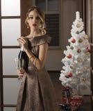 Muchacha elegante en tiempo de la Navidad Imágenes de archivo libres de regalías