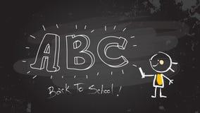 Muchacha elegante que escribe el ABC en la pizarra Ilustración del Vector