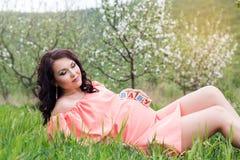 Muchacha embarazada con los ladrillos de los bebés en su vientre Fotos de archivo libres de regalías
