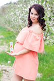 Muchacha embarazada con los ladrillos de madera en jardín Imagen de archivo libre de regalías