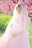 Muchacha embarazada de la novia en jardín de la primavera del flor Foto de archivo libre de regalías
