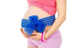 Muchacha embarazada del vientre Foto de archivo libre de regalías